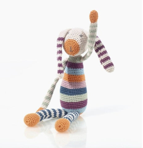 Hand Knit Bunny Toy Rattle - 100% Organic, Fair-Trade - Baby Hero