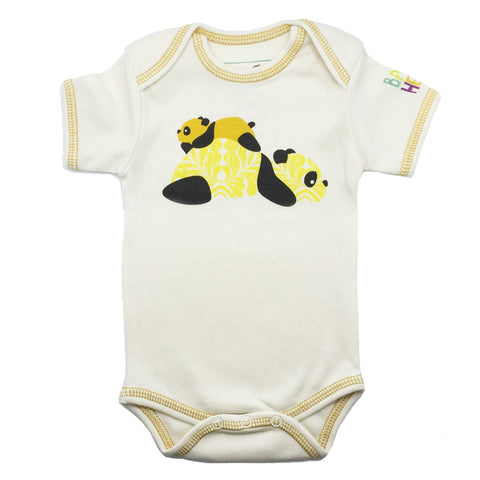 Panda Onesie - Yellow - Short-Sleeve, 100% Organic Cotton