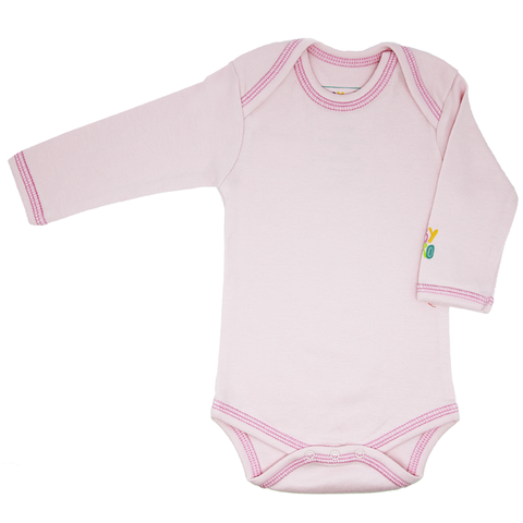 Laila Onesie - Pink - Long-Sleeve, 100% Organic Cotton