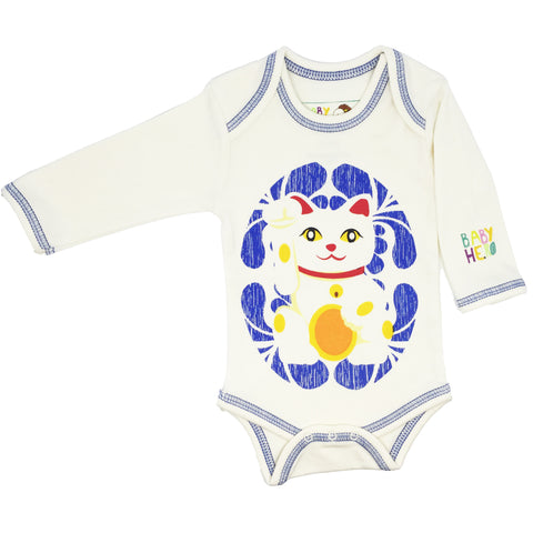 Lucky Cat Onesie - Blue - Long-Sleeve, 100% Organic Cotton