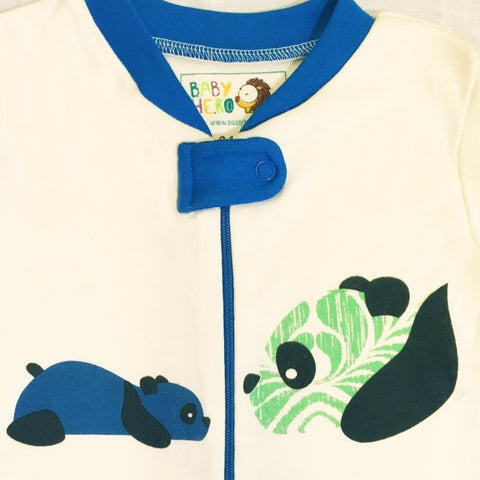 Panda Footie - Blue - 100% Organic Cotton - Baby Hero - 4