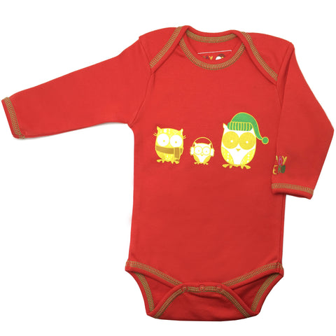 Christmas Owl Onesie - Red