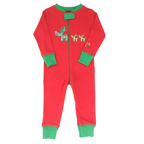 Christmas Reindeer Footie - Red