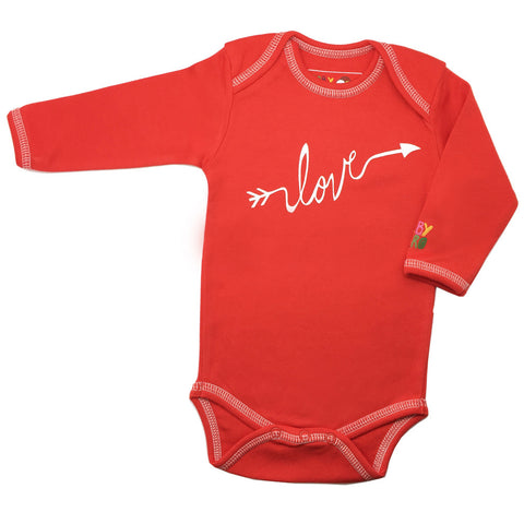 Love Onesie - Red, 100% Organic