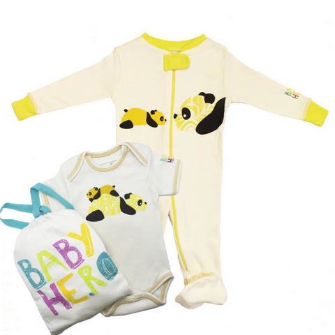 Panda Onesie + Footie Set - Yellow