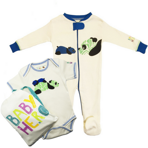 Panda Onesie + Footie Set - Blue