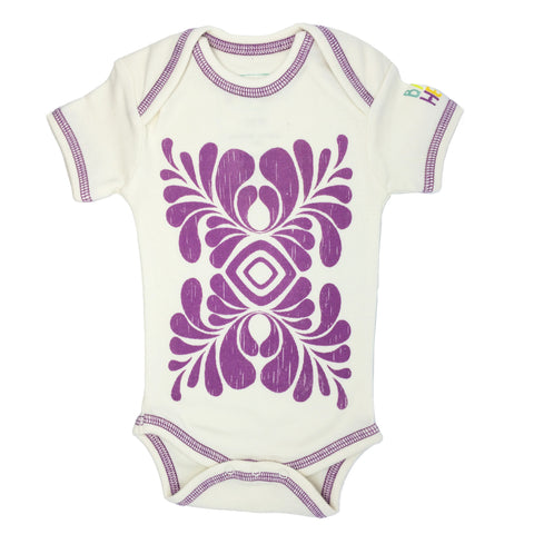 Indus Onesie - Purple - Short-Sleeve, 100% Organic Cotton