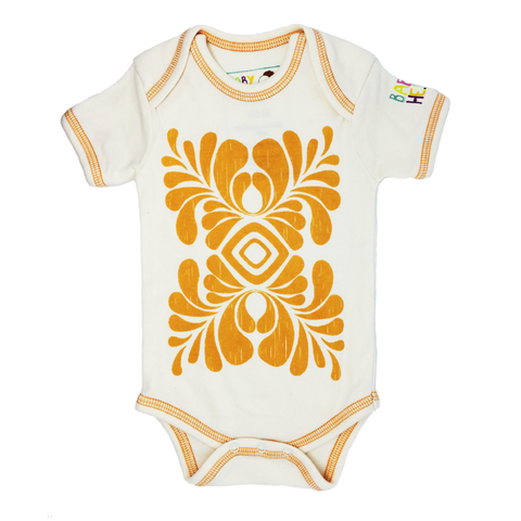 Indus Onesie - Orange - Short-Sleeve, 100% Organic Cotton