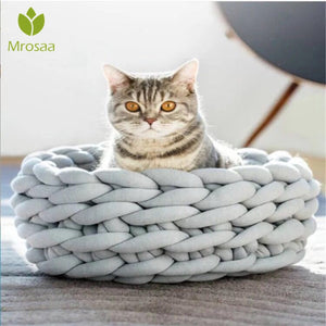 Knitted Pet Bed Dog Cat Bed Puppy Pillow House Soft Warm Dog House Mat Mini Puppy dog Beds Comfortable Nest Kennel Pet Supplies