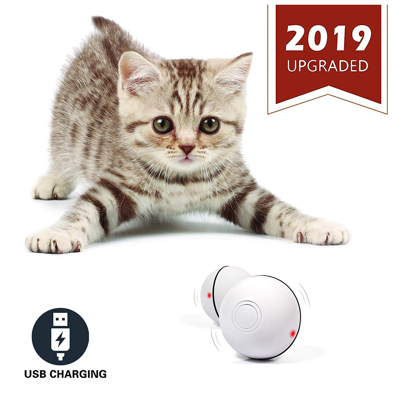 Smart Interactive Cat Toy USB Rechargeable Led Light 360 Degree Self Rotating Ball Pets Playing Toys Motion Activated Pet Bal
