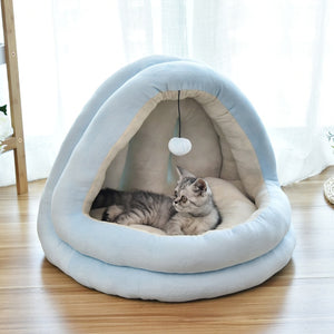 Detachable Pet Cat Bed House Soft Kitten Yurt Cot Non-Slip Breathable Pet Dog Cat Bed with Ball Design for Small Cats Pet Supply
