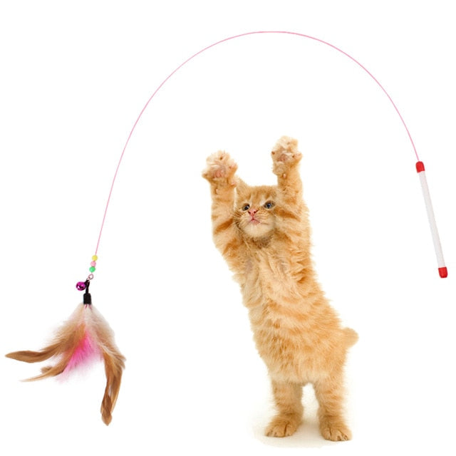 Cat Interactive Toy Stick Feather Wand With Small Bell Mouse Cage Toys Plastic Artificial Colorful Cat Teaser Toy Pet Supplies - catixy