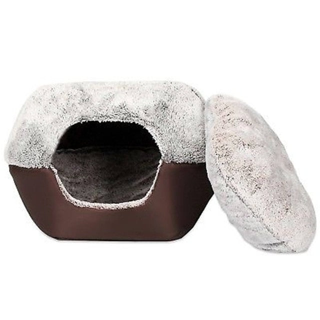 2 In 1 Warm Winter Cat Dog Bed M/L Washable Soft Nest House Animal Puppy Cave Sleeping Mat Pad Nest Kennel Foldable Pet Supplies