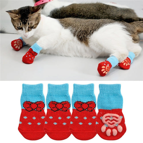 1 pair Creative Cat Coats Pet cat socks Dog Socks Traction Control for Indoor Wear L/M/S Cat Clothing Multicolor S M L 4 - catixy
