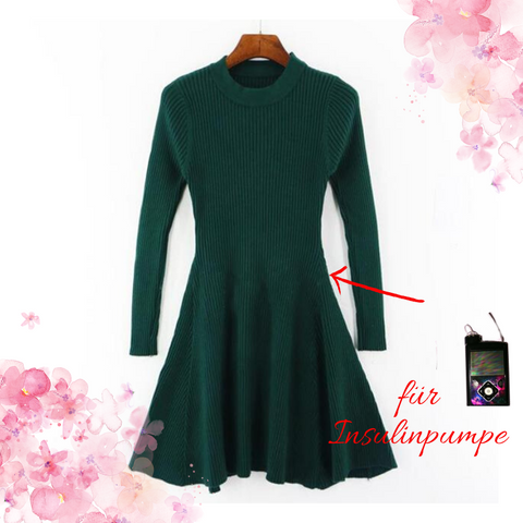 Autumn Winter dress with elastic opening for insulin pumps and belt bag