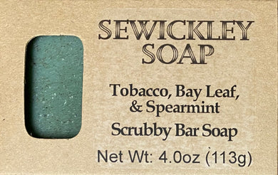 Tobacco, Bay Leaf, & Spearmint Scented Scrubby Bar Soap
