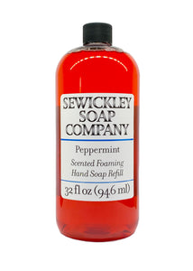 Peppermint Scented Foaming Hand Soap - 32oz Refill