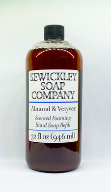 Almond & Vetyver Scented Foaming Hand Soap - 32oz Refill