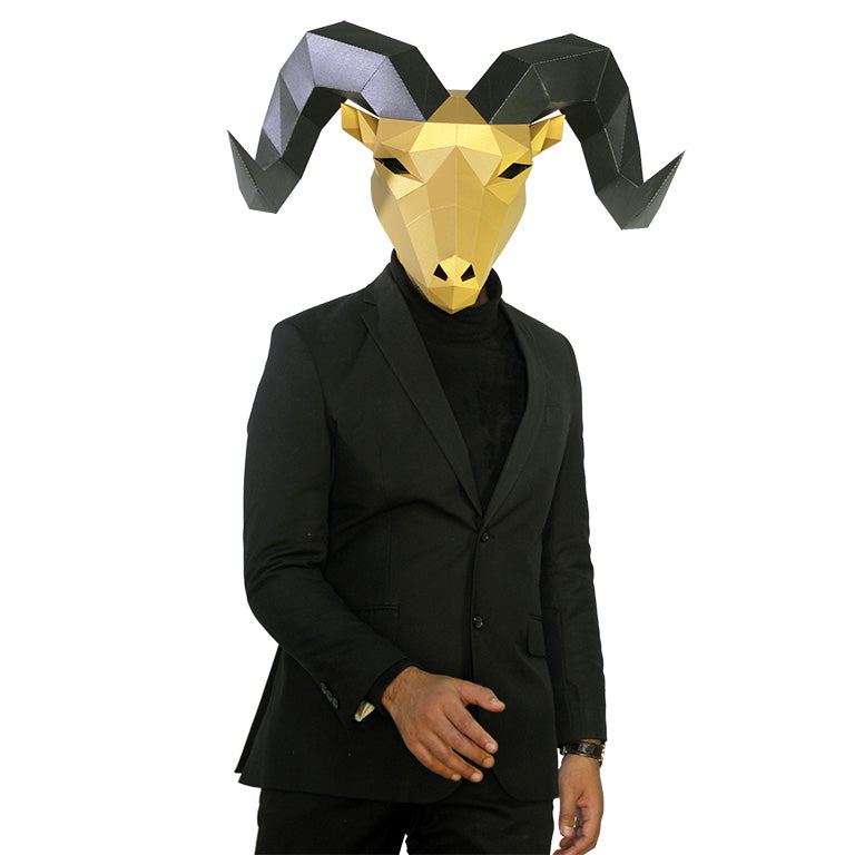 Horned Goat Mask - Gold