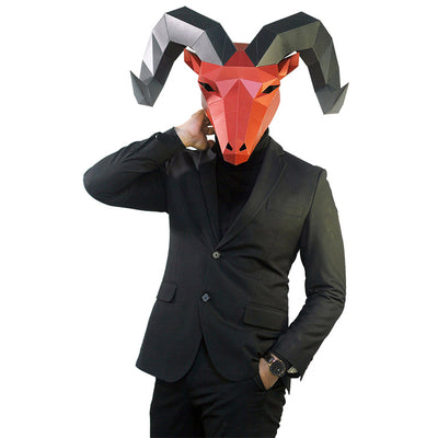Horned Goat Mask - Red