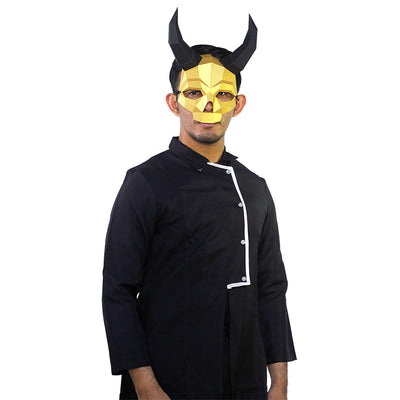 Long Horned Skull Mask - Gold