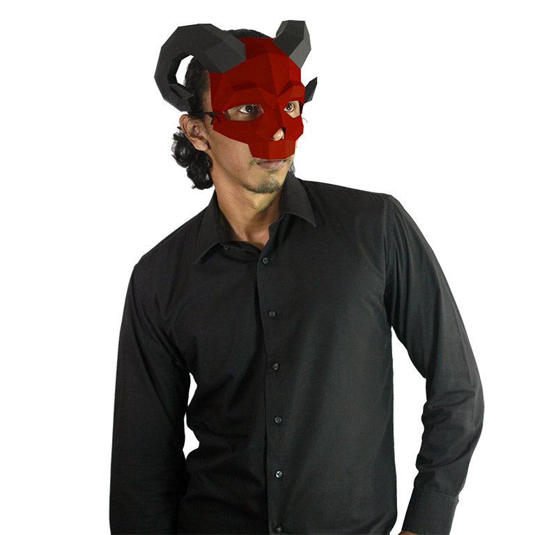 Round Horned Skull Mask - Red