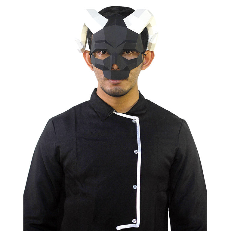 Round Horned Skull Mask - Black