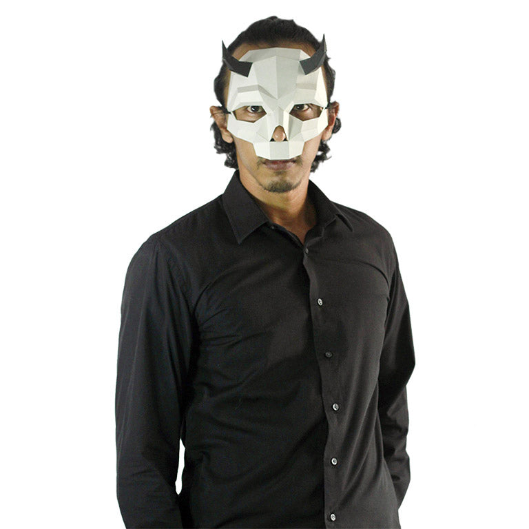 Short Horned Skull Mask - White