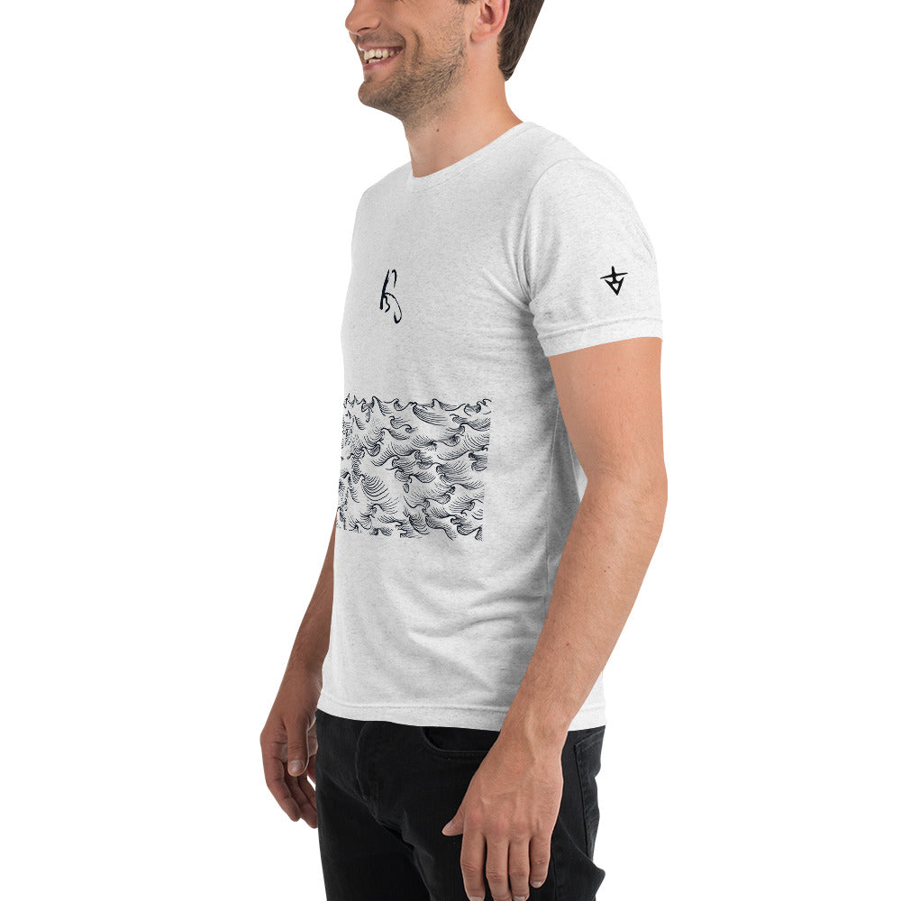 product image of Waves with Chinese Word 'Wind' Unisex Short Sleeve T-shirt (black pattern)