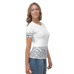 product image of Waves with Chinese Word 'Wind' All-Over Women's T-shirt (white)