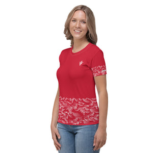 product image of Waves with Chinese Word 'Wind' All-Over Women's T-shirt (red)