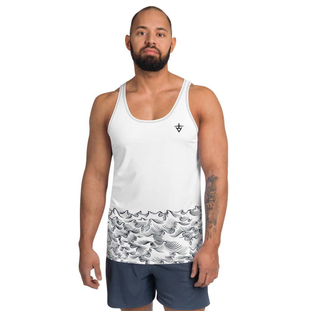 product image of Waves with Chinese Word 'Wave' Men's Tank Top (White)