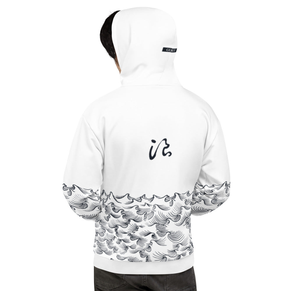 product image of Waves with Chinese Word 'Wave' Unisex Hoodie (white)