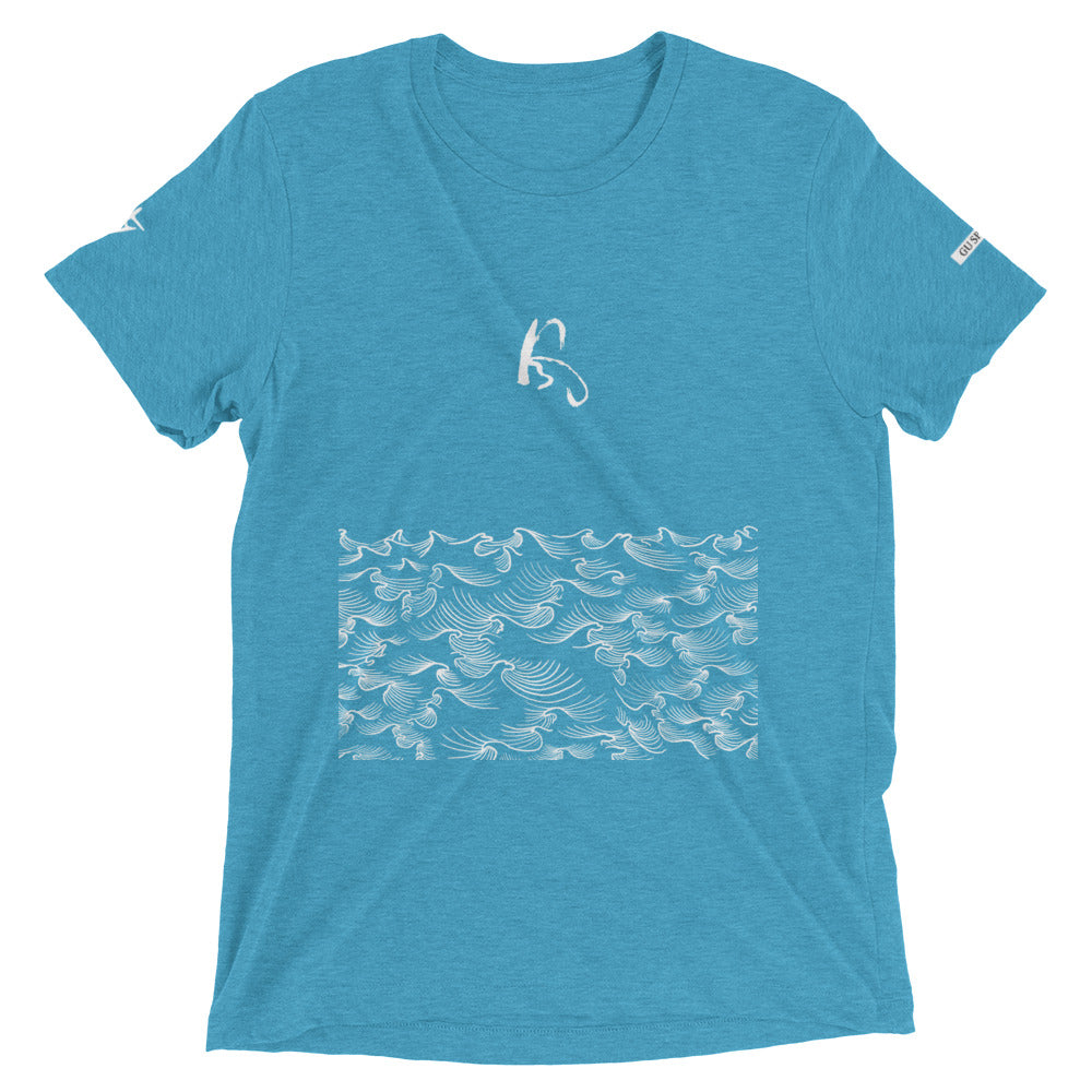 product image of Waves with Chinese word 'Wind' Unisex Short Sleeve T-shirt (white pattern)