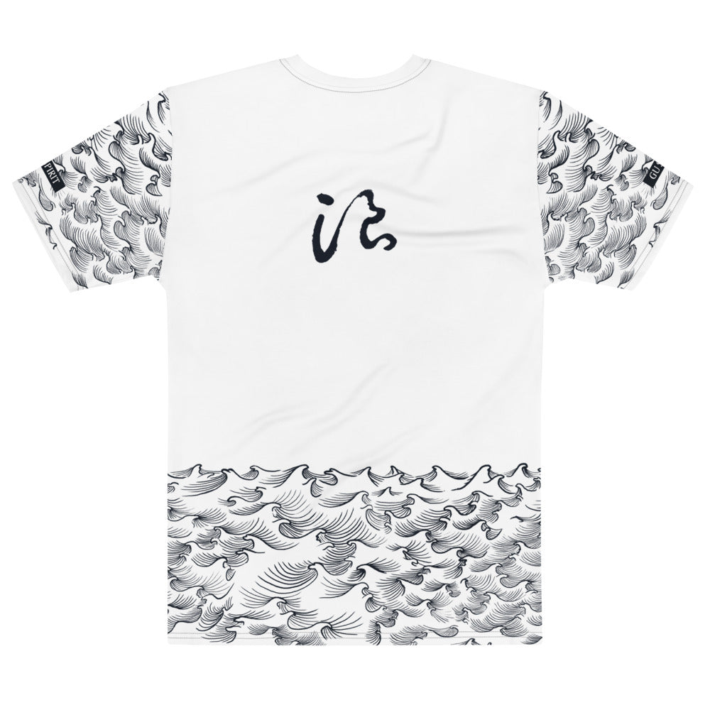 product image of Waves with Chinese Word 'Wave' All-Over Men's Crew-neck T-shirt (white)