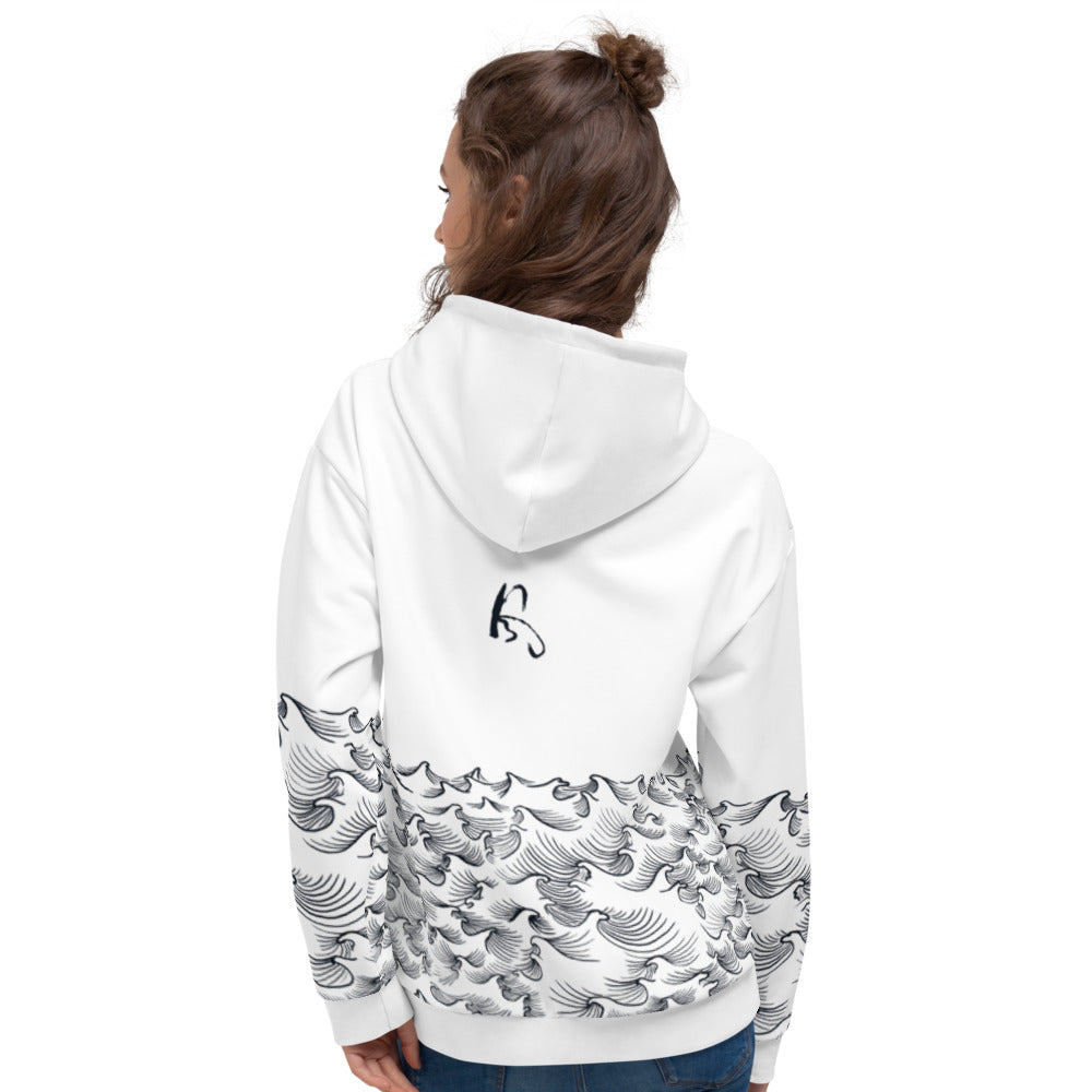 product image of Waves with Chinese Word 'Wind' Unisex Hoodie (white)