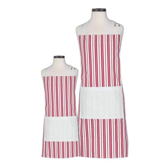 Apron Set Adult and Child Gifts Handstand Kitchen Red Striped