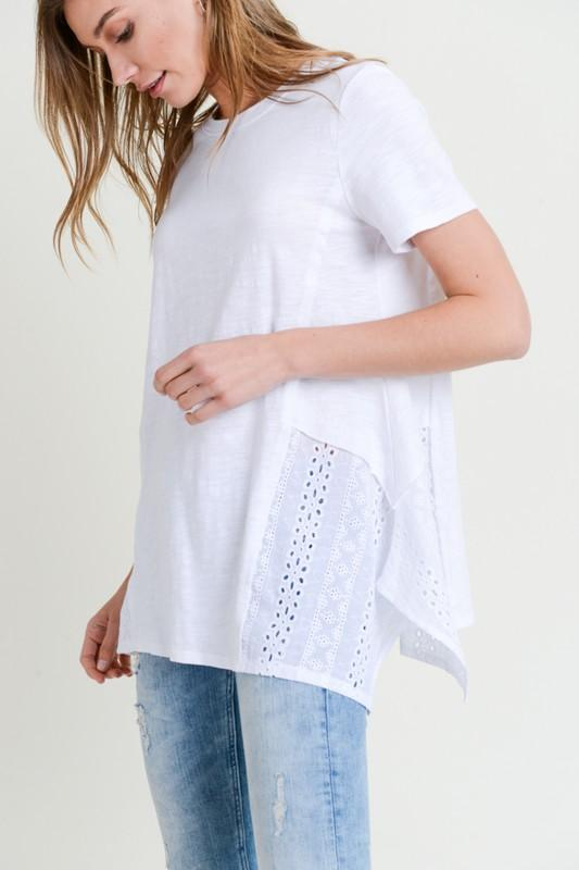 Asymmetrical Eyelet Hem Tee Top doe and rae
