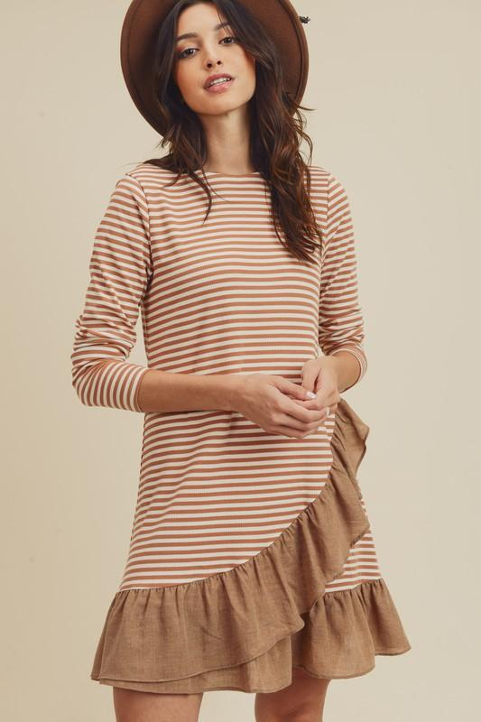 Asymmetrical Ruffle Knit Dress Dress doe and rae small mocha stripe