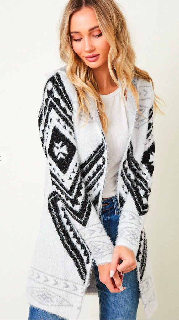 Aztec Cardigan with Hood On Blue