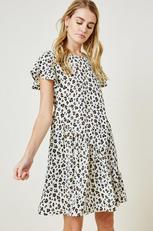 Bias Cut Leopard Dress Dress Hayden Los Angeles small cream leopard