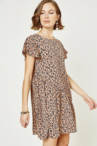 Bias Cut Leopard Dress Dress Hayden Los Angeles small latte leopard