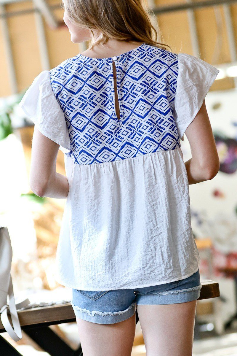 Blue Embroidered Smocked Top mazik