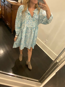Blue Floral L/S Dress Aly Daly