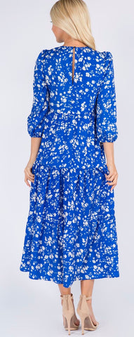 Image of Blue Floral Smocked Maxi Sundayup