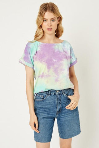 Image of Boat Neck Tie Dye Tee tee Hayden Los Angeles