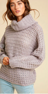 Boxy Knitted Turtleneck Sweater In Loom