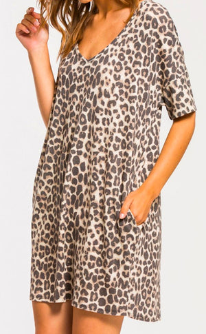 Brushed Knit Leopard Dress Cherish