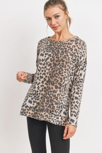 Brushed Knit Side Slit Leopard Top Top Cherish