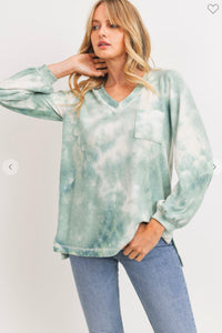 Brushed Knit Tie Dye Top SNAP-Something New And Pretty